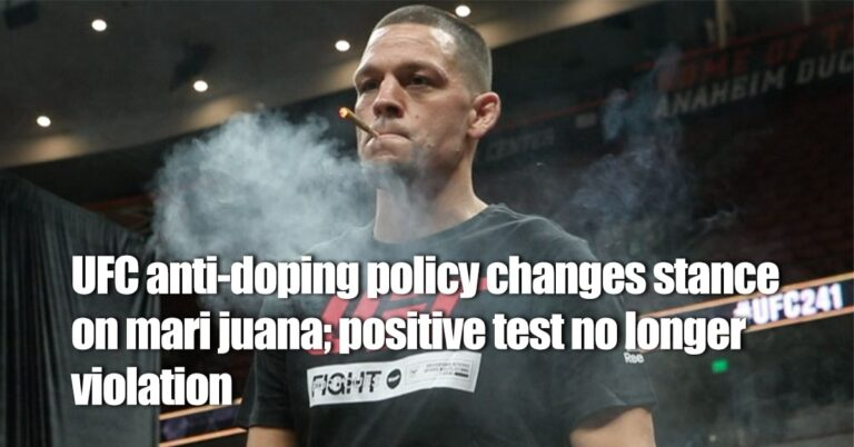 UFC anti-doping policy changes stance on marijuana; positive test no longer violation