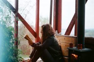 A woman reading by herself